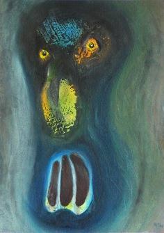 Maska agrese, 2014, 33 x 23 cm, olej na kartonu / k prodeji / č. 101