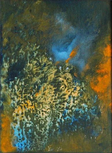 Hořící keř, 2012, 21 x 16 cm, olej na papíře / k prodeji / č. 105