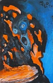 Poslední výkřik z pekla, 2014, 20 x 13 cm, olej na kartonu / k prodeji / č. 108