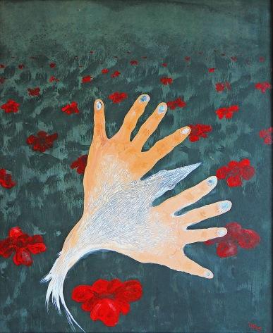 Vlčí máky plaší ptáky, 2009, 56 x 47 cm, olej na kartonu / v soukromé sbírce / č. 111