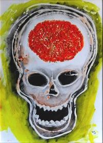 "Veselá smrt aneb ""Bezlebková dieta"", 2013, 56 x 42 cm, olej na kartonu / k prodeji / č. 121"