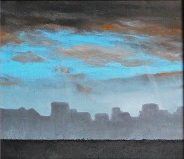 Pohled z okna (2), 1999, 34 x 38 cm, olej na sololitu / k prodeji / č. 130