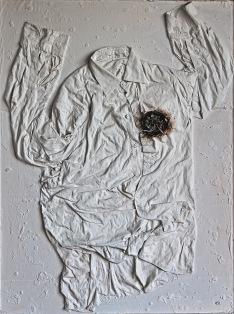 """Konec funkce aneb """"NON - Velký princ"""", 1992, 104 x 80 cm, instalace a trikotáž / v soukromé sbírce / č. 131"""