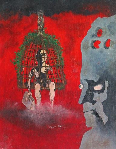 """""""Hlavoun"""", 1980, 33 x 25 cm, olej na dřevě / k prodeji / č. 136"""