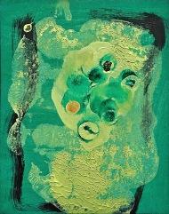 Zelený klaun, 2008, 14 x 14 cm, olej na papíře / k prodeji / č. 167