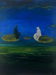 Souboj, 1992, 88 x 68 cm, olej na bezdřevném papíře / v soukromé sbírce / č. 17