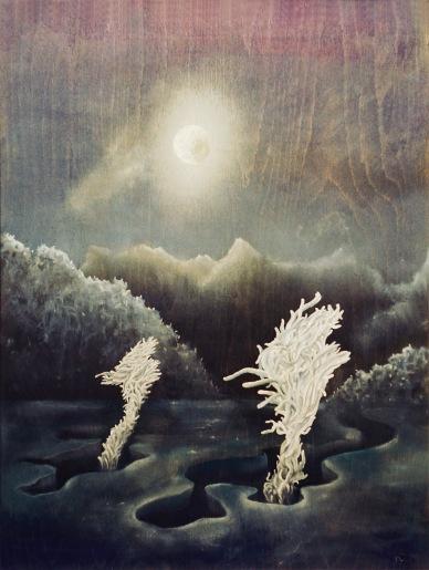 """""""Pod rouchem noci"""", 80. léta, olej na dřevě / neznámý majitel / č. 198"""
