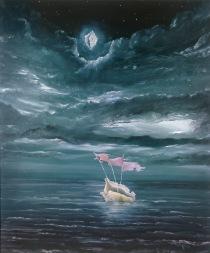 Cesta zpět, 1992, 92 x 79 cm, olej na bezdřevném papíře / v soukromé sbírce / č. 19