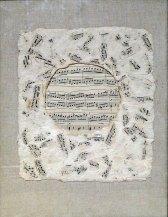 Notový papír, 1998, 22 x 25 cm, koláž ze série Papíry / v soukromé sbírce / č. 204