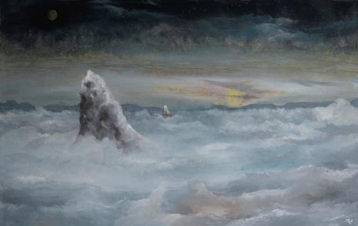 """""""Osamělé vrcholy"""", 90. léta, 57 x 87 cm, olej na sololitu / v soukromé sbírce / č. 20"""
