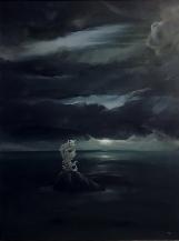 Čekatel na zázrak (č. 907611), 1992, 76 x 60 cm, olej na papíře / v soukromé sbírce / č. 210