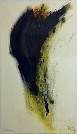 Démon, 2013, 32 x 19 cm, olej na papíře / v soukromé sbírce / č. 215