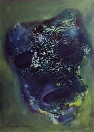 Maska smutku, 2013, 40 x 28 cm, olej na papíře / v soukromé sbírce / č. 216