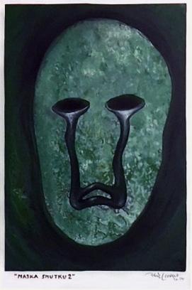 Maska smutku (2), 2014, 35 x 22 cm, olej na papíře / v soukromé sbírce / č. 219