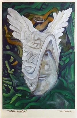 Maska anděla, 2014, 35 x 22 cm, olej na papíře / v soukromé sbírce / č. 220
