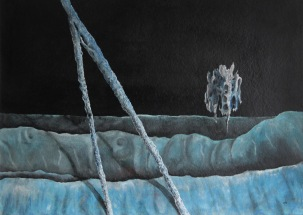 Bludný Holanďan, 1990, 53 x 69 cm, olej na kartonu / v soukromé sbírce / č. 26