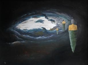 Poutníci, 2008, 128 x 98 cm, olej na kartonu / k prodeji / č. 37
