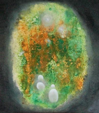 Zárodky, 2009, 35 x 33 cm, olej na kartonu / k prodeji / č. 38