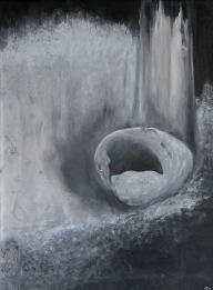 Opuštěné doupě, 2008, 69 x 52 cm, olej na kartonu / k prodeji / č. 42