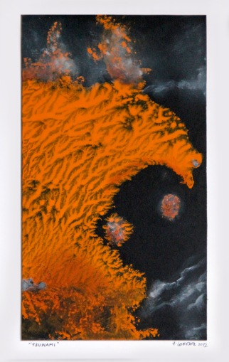 Tsunami, 2012, 40 x 28 cm, olej na kartonu / k prodeji / č. 50