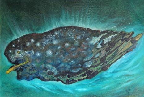 Veselý kytovec, 1994, 38 x 54 cm, olej na kartonu / k prodeji / č. 75