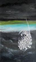 Oko uragánu, 2011, 56 x 34 cm, olej na kartonu / k prodeji / č. 79