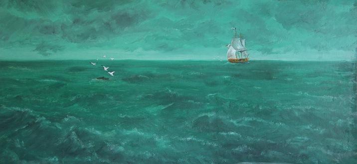 Oceán, 70. léta, 40 x 85 cm, olej na sololitu / k prodeji / č. 95