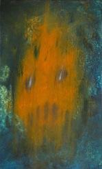 Maska šílenství, 2014, 34 x 20 cm, olej na kartonu / v soukromé sbírce / č. 99