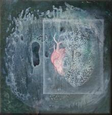 Mozek nebo srdce, 2008, neznámé parametry, olej na kartonu / v soukromé sbírce / č. 251