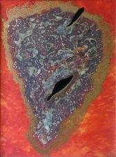 2 černé ryby a 3594 zlatých teček, 2009, 75 x 55 cm, olej a lepidlo na kartonu / v soukromé sbírce / č. 254