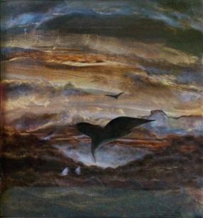 """Sedmé, osmé nebe aneb """"Černí andělé"""", 2007, 57 x 47 cm, olej na kartonu / v soukromé sbírce / č. 255"""