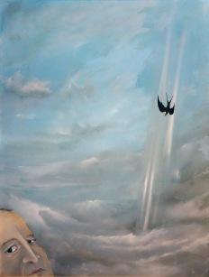 Volný pád, 1995, 50 x 66 cm, olej na papíře / v soukromé sbírce / č. 257