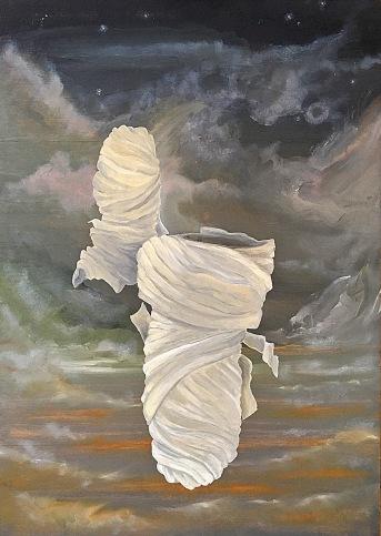 """""""Odtržení (2)"""", 1995, 55 x 39 cm, olej na dřevě / k prodeji / č. 262"""