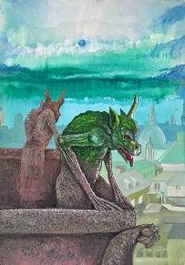 Přeměna, 1992, 30 x 21 cm, tempera na kartonu / k prodeji / č. 268