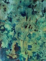 Zelená noc, 1991, 21 x 16 cm, olej na papíře / k prodeji / č. 274